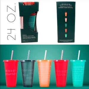 NWT Starbucks Holiday Venti cold cup straw set 5